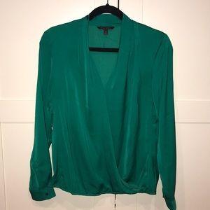 Banana Republic green wrap blouse